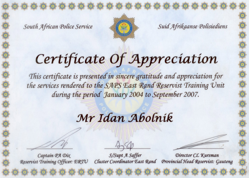 Golani specialist security testimonials articles south african police service letter of appreciation altavistaventures Gallery